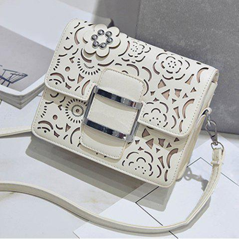 Hot Buckled Laser Cut Crossbody Bag - OFF-WHITE  Mobile