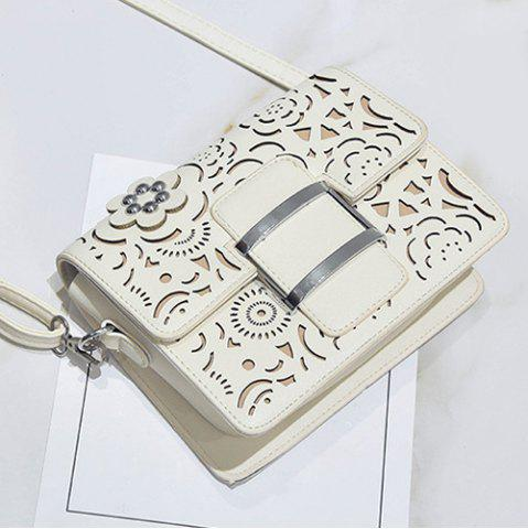 Fashion Buckled Laser Cut Crossbody Bag - OFF-WHITE  Mobile