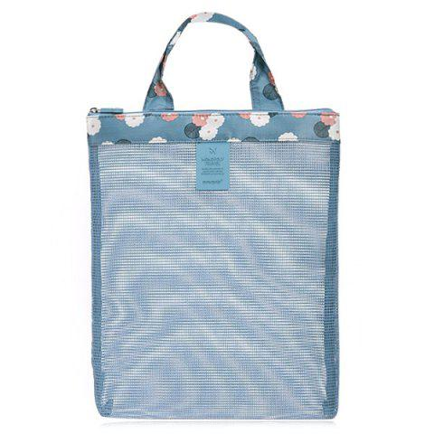 Mesh Panel Beach Tote Bag - Blue