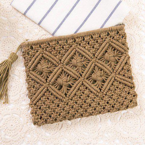 Cheap Tassel Crochet Clutch Beach Bag - ARMY GREEN  Mobile