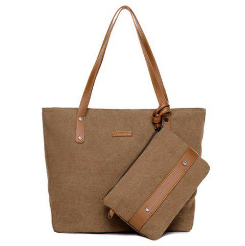 Store Canvas Tote with Zipper Wristlet Purse - BROWN  Mobile
