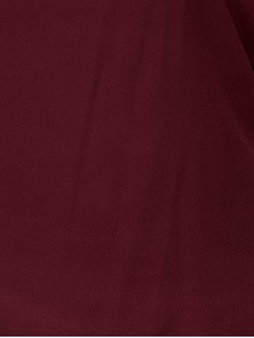 Shop Plus Size V Neck Ripped Sleeve Tee - WINE RED 2XL Mobile