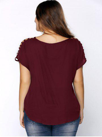 Store Plus Size V Neck Ripped Sleeve Tee - WINE RED 2XL Mobile