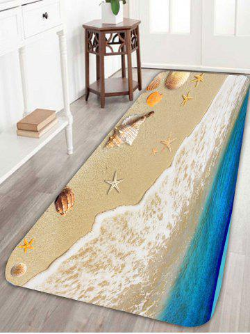 Cheap Beach Style Conch Starfish Antislip Bath Rug - W24 INCH * L71 INCH BLUE Mobile