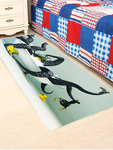 Unique Octopus in Bathtub Coral Fleece Skidproof Bath Rug - W24 INCH * L71 INCH COLORFUL Mobile