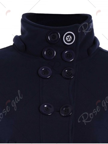 Fancy High Neck Double-Breasted Hoodie - 2XL PURPLISH BLUE Mobile
