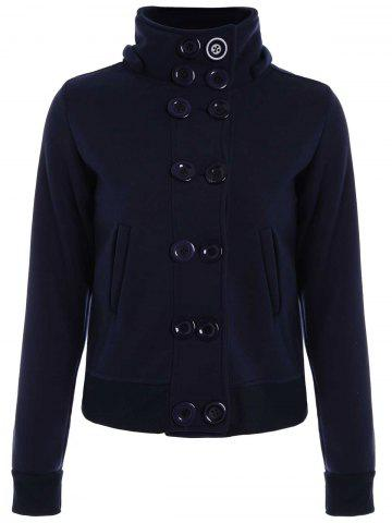 Fancy High Neck Double-Breasted Hoodie PURPLISH BLUE L