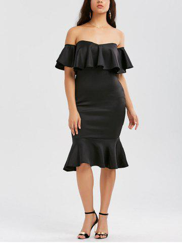 Outfit Off The Shoulder Ruffle Mermaid Dress BLACK L
