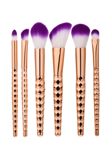 Buy 6Pcs Honeycomb Shape Handle Makeup Brushes Set - ROSE GOLD  Mobile