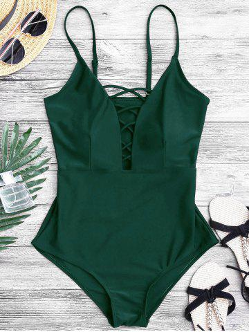 Outfits Crisscross Plunge One Piece Swimsuit GREEN M