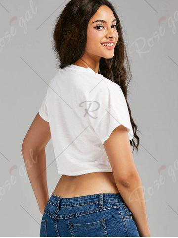 Discount Lace Up Graphic Print Cropped Tee - ONE SIZE WHITE Mobile