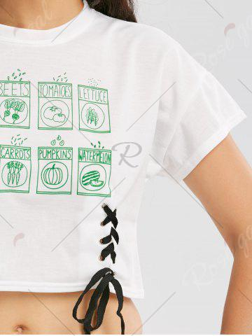 Outfits Lace Up Graphic Print Cropped Tee - ONE SIZE WHITE Mobile