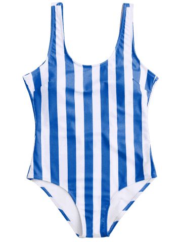 Unique Shaping Striped One Piece Swimsuit - L BLUE AND WHITE Mobile