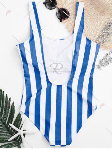 Buy Shaping Striped One Piece Swimsuit - L BLUE AND WHITE Mobile