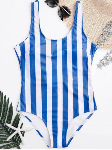 Store Shaping Striped One Piece Swimsuit - L BLUE AND WHITE Mobile