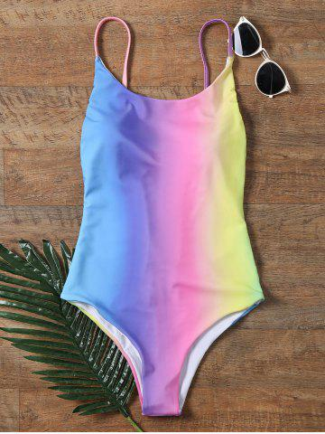 Affordable Colorful Ombre Backless One Piece Swimwear COLORMIX 2XL