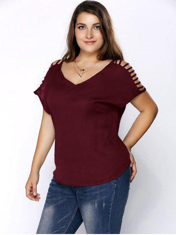 54 Off Plus Size V Neck Ripped Sleeve Tee Rosegal