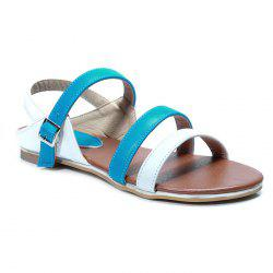 Faux Leather Colour Block Flat Heel Sandals
