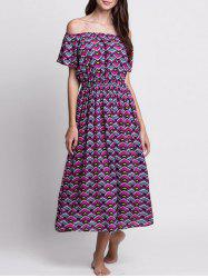 Argyle Off The Shoulder Tea Length Dress