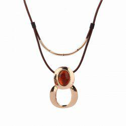 Infinity Faux Leather Resin Pendant Necklace