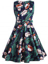 Floral Sleeveless Knee Length Fit and Flare Dress