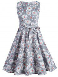 Vintage Sleeveless Floral Fit and Flare Dress