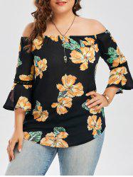 Plus Size Chiffon Off The Shoulder Floral Hawaiian Blouse - Black - Xl