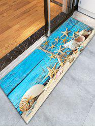 Conch Starfish on Wood Beach Flannel Tapis de salle de bain - Pers
