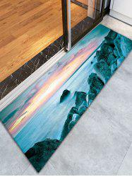 Sunset Sea Rock Skidproof Flannel Bathroom Rug