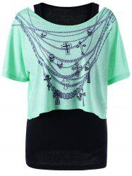 Skew Collar Chains Print Two Piece Top