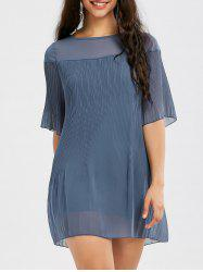 See Thru Chiffon Short Pleated Dress - BLUE