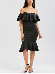 Off The Shoulder Ruffle Mermaid Dress - BLACK