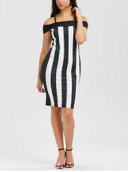 Striped Slip Fitted Club Bodycon Dress