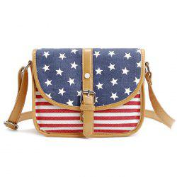 July 4th Patriotic American Flag Canvas Crossbody Bag - BLUE