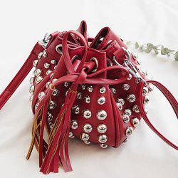 Studded Tassels Bucket Bag