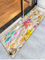Beach Style Shell Starfish Print Bathroom Rug