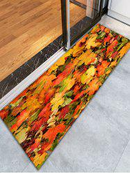 3D Maple Leaf Print Flannel Skidproof Bathroom Rug