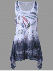 Racerback Feather Print Plus Size Tank Top