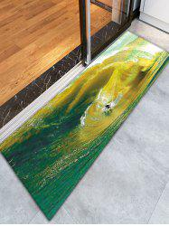 Skidproof Flannel Bathroom Rug with Surfing Print