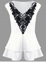 Lace Applique Layered Peplum Top - WHITE