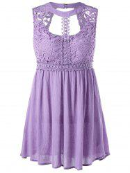 Cut Out Lace Trim Sleeveless Party Tunic Top -