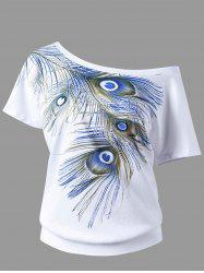 Skew Collar Peacock Tail Pattern T-shirt