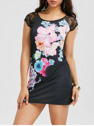 Lace Insert Floral Tee Dress