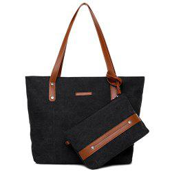 Canvas Tote with Zipper Wristlet Purse