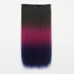 1Pcs Long Silky Straight Multi Color Ombre Clip In Hair Extensions - Noir Et Rouge