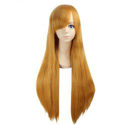 Ultra Long Side Bang Layered Glossy Straight Synthetic Naruto Cosplay Anime Wig - YELLOW