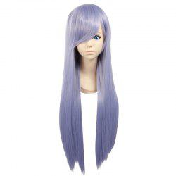 Ultra Long Side Bang Layered Glossy Straight Synthetic Naruto Cosplay Anime Wig - PURPLE
