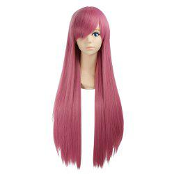 Ultra Long Side Bang Layered Glossy Straight Synthetic Naruto Cosplay Anime Wig - Carmine Rouge