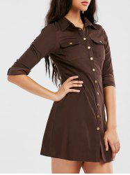 Button Up Long Sleeve Shirt Dress