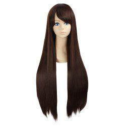 Ultra Long Side Bang Layered Glossy Straight Synthetic Naruto Cosplay Anime Wig - Brun Foncé